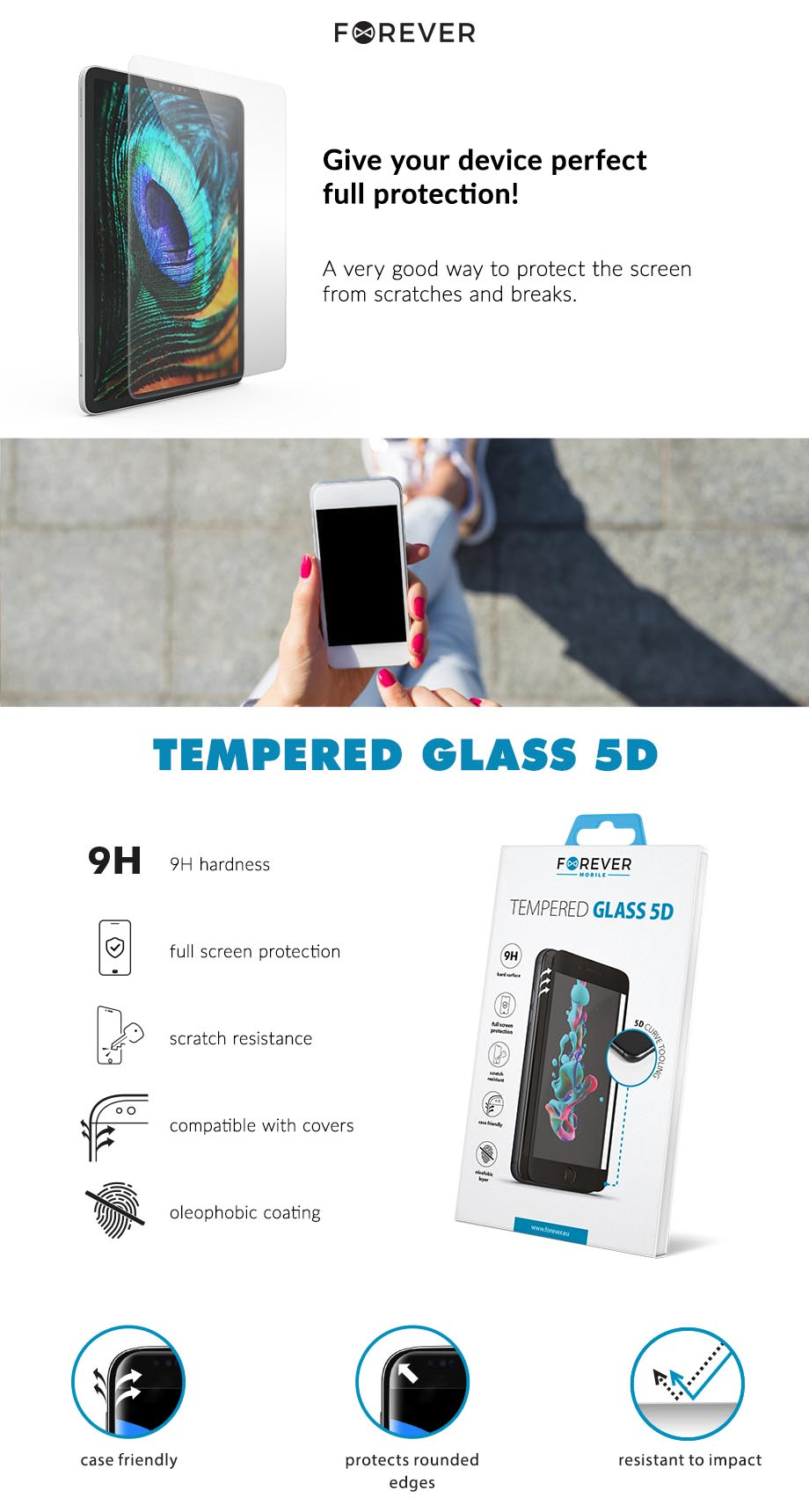 Tempered Glass 5D Forever for Samsung A8 Plus 2018 A730 black
